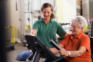 recumbent bicycle aerobic training for active aging client